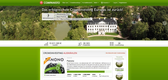 Crowdinvesting-Plattform Companisto (Screenshot)
